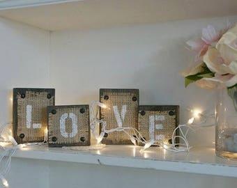 "beautiful handmade rustic wood & burlap block letter words ""LOVE"""