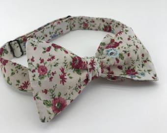 Self Tie Bow Tie- Beige & Floral