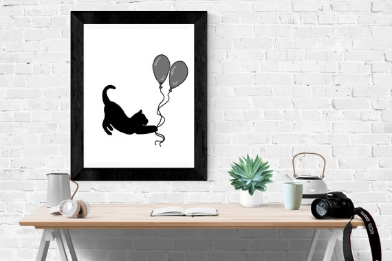 Black Cat With Balloons Drawing Black And White Minimalist Etsy