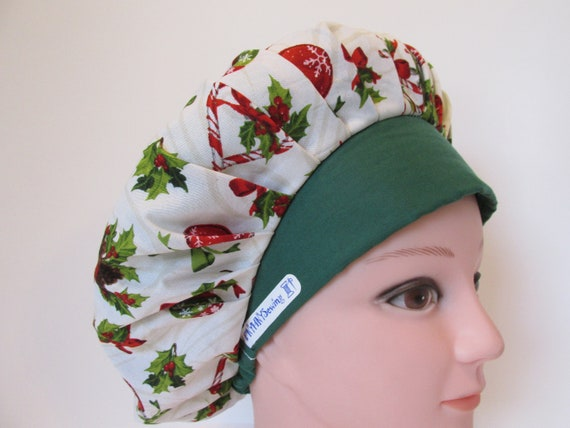 blue Women/'s Bouffant Surgical Scrub Hat//Cap Handmade Christmas Bulbs