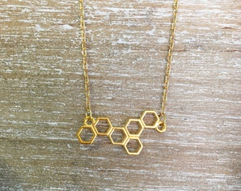 Abeja Reina - Honeycomb Necklace, Gold Plated
