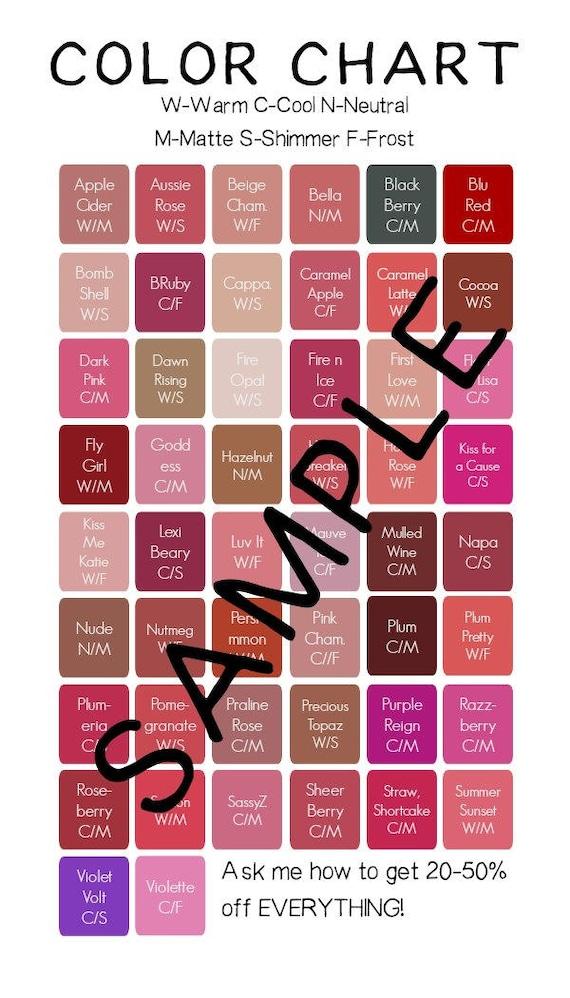 Lipsense Farbkarte Für Visitenkarten 50 Standard Farben