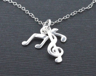 Music necklace, 925 Sterling Silver Treble clef and notes charm, gift for music lover, musician, simple necklace, charm necklace