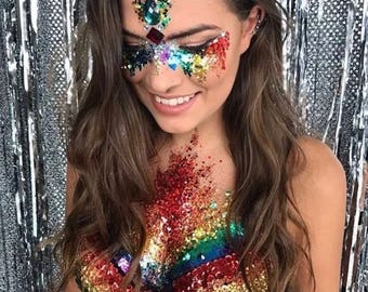 10 pride colour RAINBOW GLITTER POTS Gay Pride new festival hair face body glitter crafts