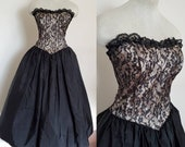 Vintage Gunne Sax 1950s Style Gothic Witchy A-Line Cocktail Dress Size Small
