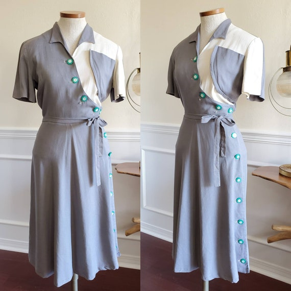 Vintage 1940s Two Tone Color Block Grey Day Dress