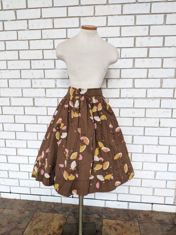 1950s Vintage Asian Fan print A-Line Circle Skirt