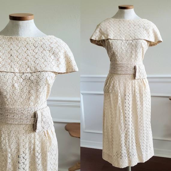 Vintage 1950s Cream Ivory Eyelet Wiggle Dress Size