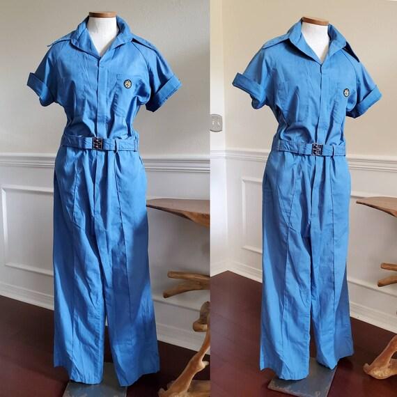 Vintage 1970s Blue Utility Jumpsuit Size Large
