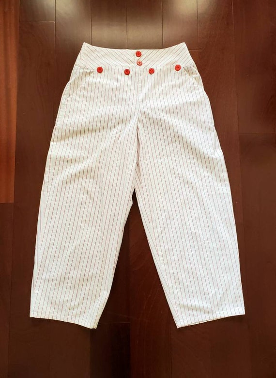 Vintage 1970s You Babes Sailor Style White Red Str