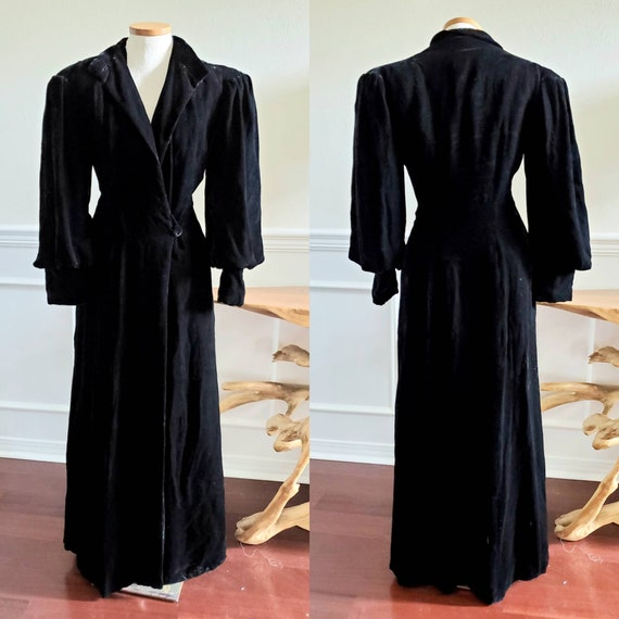Vintage 1930s Black Velvet Evening Glamour Princes