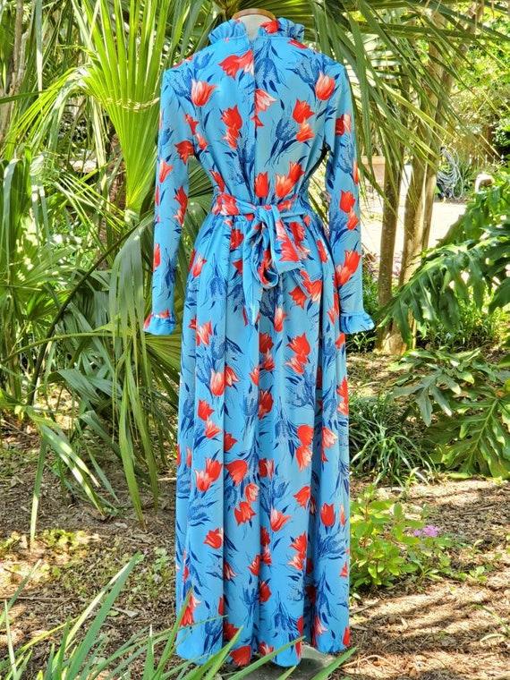 Vintage 1970s Floral Tulip Print Maxi Dress Size M - image 5