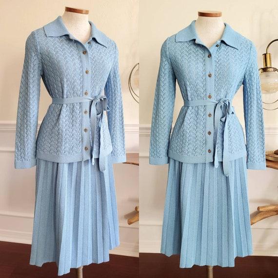 Vintage 1950s Kimberly Blue Knit Skirt Suit Set Si