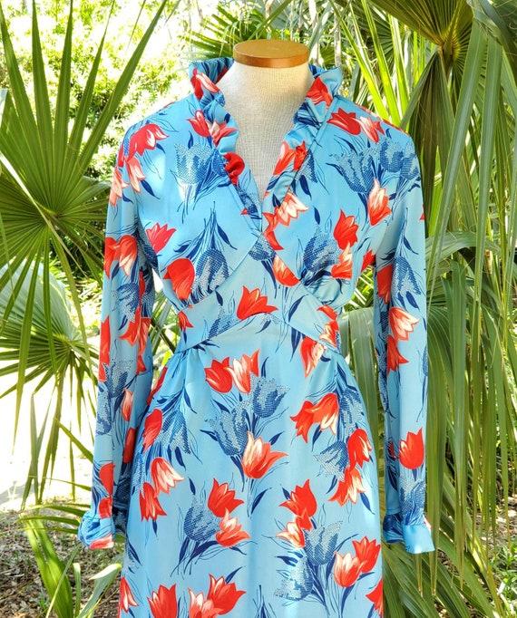 Vintage 1970s Floral Tulip Print Maxi Dress Size M - image 2