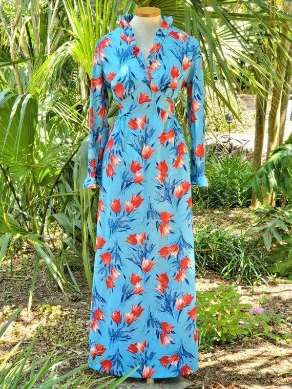 Vintage 1970s Floral Tulip Print Maxi Dress Size M - image 3