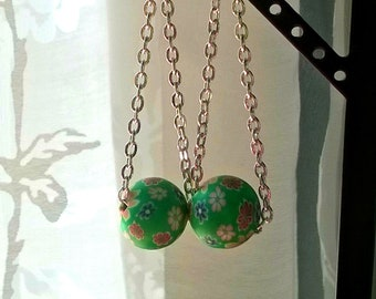 Green floral beads on chains. Earings