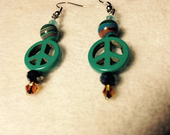 Peace Sign Stones and Crystals Earrings