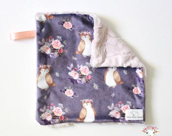 Owl Lovey, Floral Owl Baby Blanket Toddler Adult Blanket, Boho Bedding, Baby Girl Blanket Crib Bedding, Minky Blanket, Baby Shower