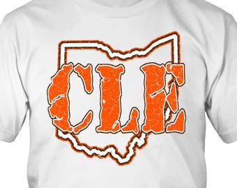 CLE T-Shirt Cleveland Ohio Brown Orange