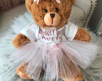 3fb9532a1c4 Flower Girl Personalized Brown Teddy Bear with Wedding Date Small bear -  Flower Girl Gift