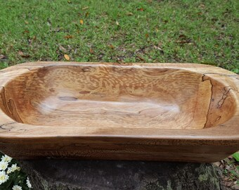 Hand carved wooden Spalted Sycamore dough bowl, bread bowl or trench bowl.