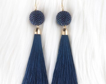 Beaded Bead Earrings, Beaded Dangle Tassel Earrings, Beadwork Earrings, Seed Bead Earrings, Long Tassel Earrings, Navy Evening Earrings