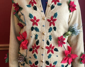 Poinsettia Christmas Sweater, Ugly Christmas Cardigan, Elfin Christmas clothing, Christmas button down, Fun holiday sweater,