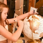 "Globe – Custom Wedding Globe – Perfect for Wedding Guestbook or Centerpiece – 12"" Diameter – Travel, Boho Chic, Guestbook Alternative"