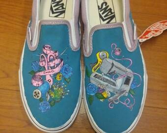 89e361ca05457 Hand painted canvas shoes Cartoon kawaii cats and Pusheen | Etsy