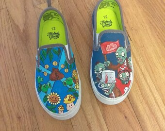 7f5e0e334ec0 Hand painted canvas shoes - Plants vs. Zombies inspired