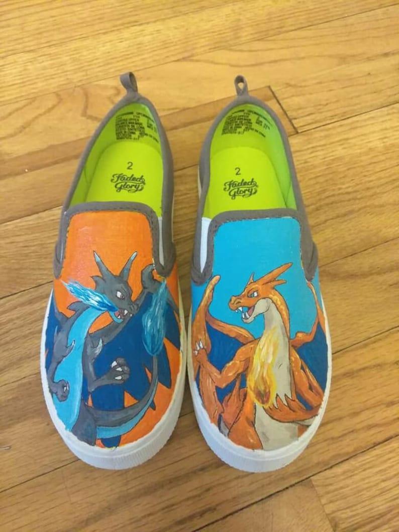 2cb12d327a754 Hand painted canvas shoes - Pokemon, Pokemon GO inspired, Mega Charizard,  Charizard