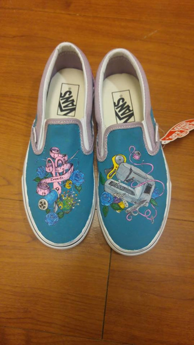 1f2a891f45908 Hand painted canvas shoes - Sewing supplies, seamstress, pins and needles