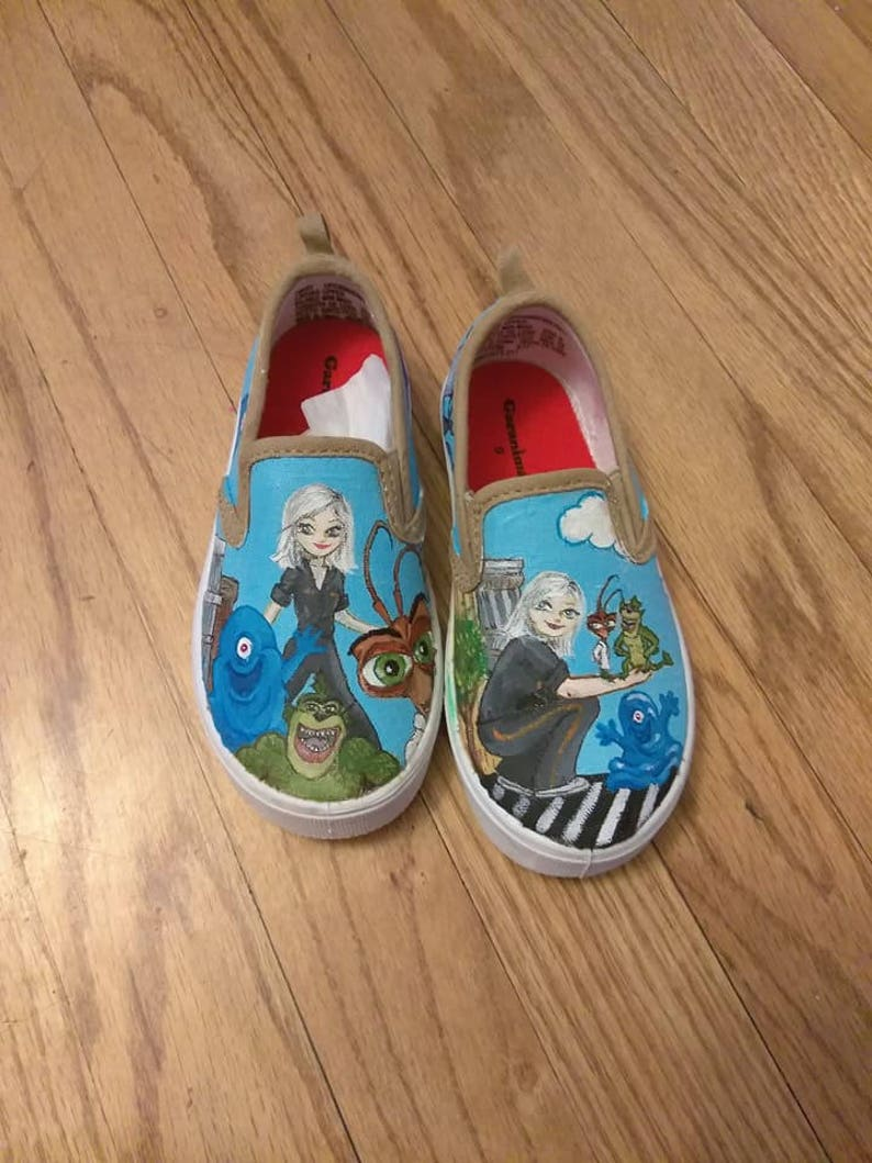 76825f0f2651e Hand painted canvas shoes - Monsters vs. Aliens
