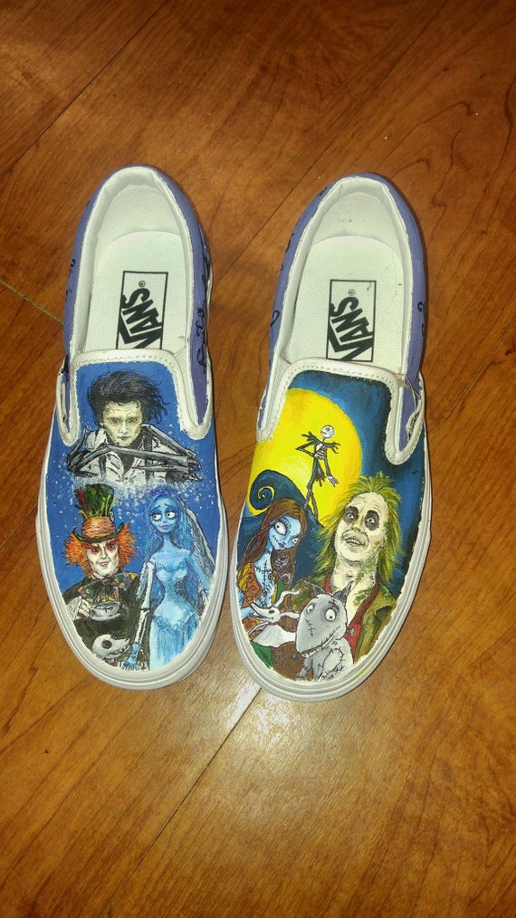 6d5cda802fe31 Hand painted canvas shoes - Tim Burton, Corpse Bride, Frankenweenie,  Nightmare before Christmas inspired