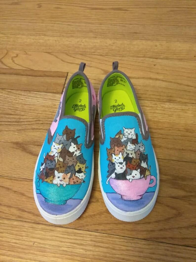 ba14885add441 Hand painted canvas shoes - Cartoon kawaii cats and Pusheen cat