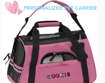 Personalized Pet Bag, Custom Pet Travel Carrier, Embroidered, Airline Approved, Small Dog Carrier, Cat Carrier, Pet Accessories, Pet Gift