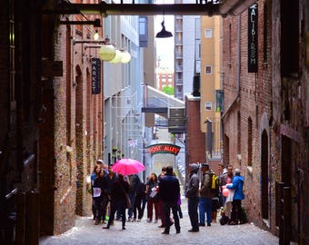 Pink Umbrella, Post Alley, Pike Place Market, Canvas, Gallery-wrapped Fine Art Photograph on Canvas, Metal Print, Ready to Hang Wall Art