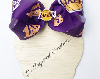 Lakers hair clip crystal custom rhinestone bobby pin girls basketball bling sports