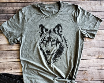 1ae02218dfc2b7 Wolf T-shirt - Blue Eyed Wolf Tee - Wolf Lover Tee - Nature Lover T-shirt - Grey  Wolf Shirt - Wolf Pack - Lone Wolf - Mates for Life