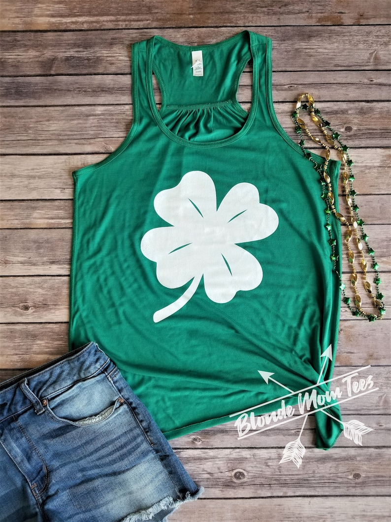 Patrick/'s Day Tank Lucky Clover Tank Day Drinking Top Patties Day Tank 4-Leaf Clover Tank Top St St Green Beer Beer babe
