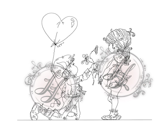 in love littles digi stamp instant download girl and boy