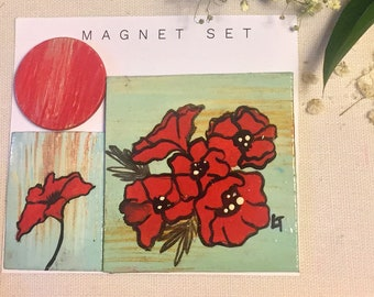 Hand Painted Magnet Sets | Assorted | Acrylic Painting | Floral | Mountains | Cacti