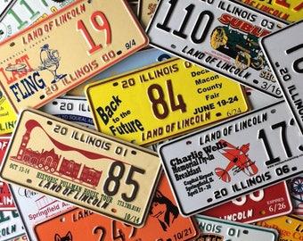 50 Colorful License Plates Each Different Wonderful Graphics Craft Assortment  Variety Automotive Art Illinois Vintage Travel 1980s- 2000s