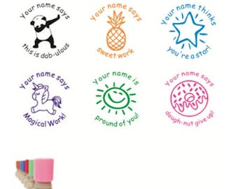 Personalized 6pcs Set Teacher Stamp Custom Self Inking Xmas Gift End Of Years