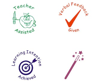 4pcs Set Teacher Stamp Assisted Learning Intention Achieved Verbal Feedback Given Star Wish Stamps Gifts
