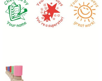 Personalized 3pcs Teacher Stamp Custom Set Check Book Lots Of Star Sun End Years Gift Xmas