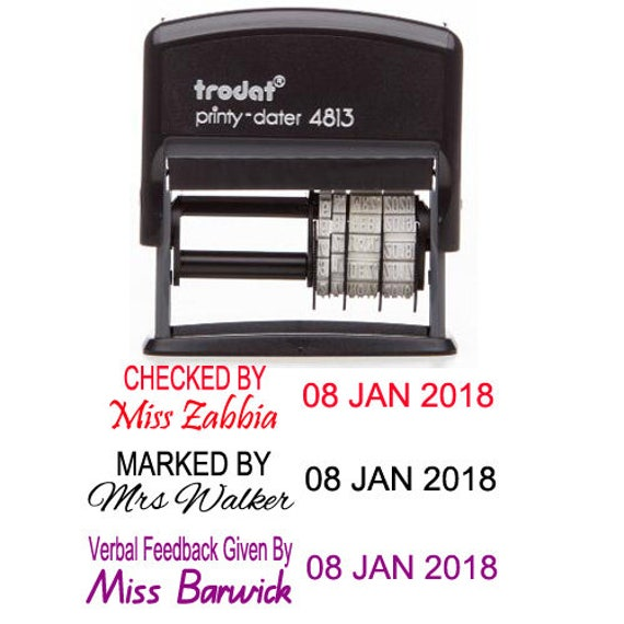 Personalized Name And Date Stamp Teacher Signature