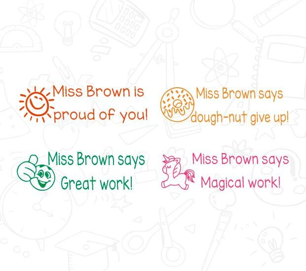 4pcs Set Personalized Teacher Stamp Self Inking