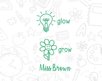 Personalized Teacher Stamps, custom teacher self inking stamp, grow and glow stamp, grow stamps, glow stamps, back to school stamps