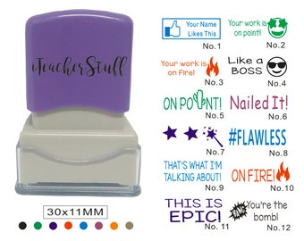 Personalized Teacher Stamp, Self Inking Stamp, Custom Teacher Stamp,teacher gifts stamp,wish star stamp, like a boss, facebook likes this